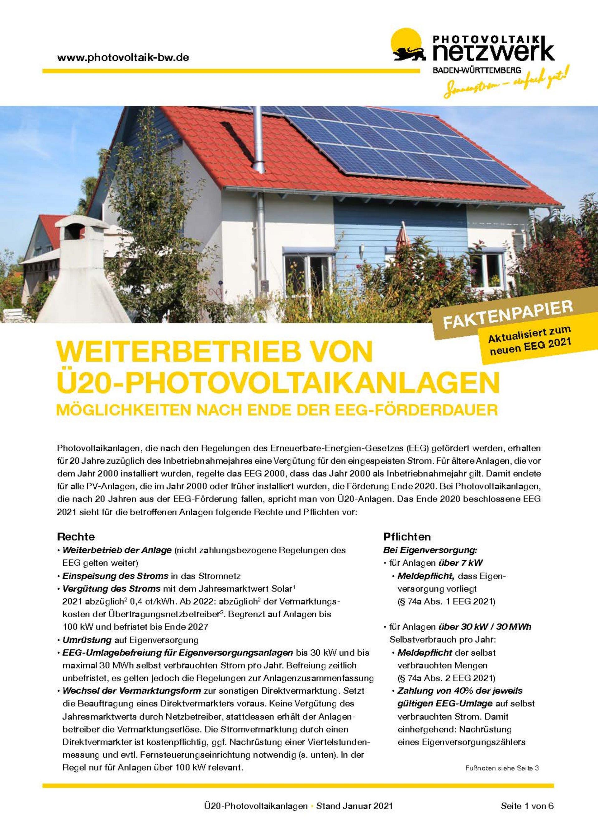 Faktenpapier Weiterbetrieb von Ü20-Photovoltaikanlagen EEG2021
